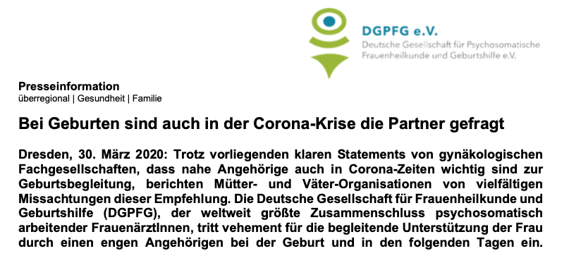 Bei Geburten sind auch in der Corona-Krise die Partner gefragt.
